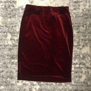NWT ~ SANCTUARY Red Velvet Pencil Skirt